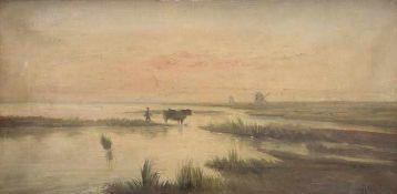 Altés Niederländische Landschaft Öl auf Leinwand Signiert rechts unten 34,5 x 68,7 cm gerahmt