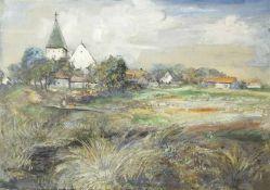 Burger, Ferdinand Albert Landschaft mit Dorf und Kirche, 1937 Gouache und Tusche auf Papier Signiert