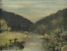 Borneman Badende im Fluss, 1948 Öl auf Platte Signiert und datiert links unten 44,6 x 59,6 cm