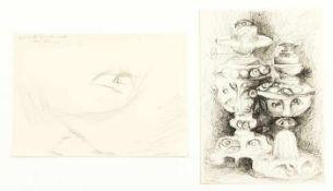 Diem, Eduard Zwei Öllampen & Skizze Tusche auf Papier / Bleistift auf Papier Signiert links