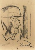 Franz Ben Becker Männerporträt, 07.09.2000 Kohle auf Karton Signiert rechts unten, datiert links