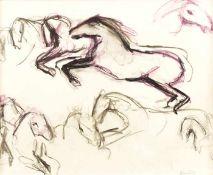 Eckl, Vilma Pferdestudie Farbkreide und Kohle auf Papier Nachlassstempel rechts unten 42,5 x 51,5 cm