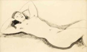 Dressler, August Wilhelm Liegender Weiblicher Akt Tusche auf Papier Monogrammiert rechts unten 27