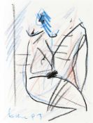 Ecker, Franz Sitzender weiblicher Akt, 1993 Ölkreide auf Papier Signiert und datiert links unten