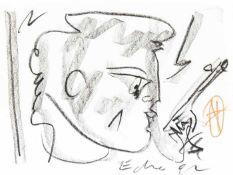 Ecker, Franz Profil nach rechts blickend, 1992 Kohle auf Papier Signiert und datiert rechts unten
