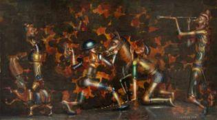 Bayer, Franz Soldaten, 1979 Öl auf Platte Signiert und datiert rechts unten 24 x 43 cm