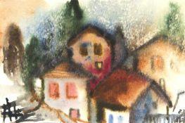 Diem, Eduard Häuser Aquarell auf Papier Monogrammiert rechts unten 9,3 x 14 cm