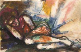 Diem, Eduard Liegender weiblicher Akt Gouache auf Papier Monogrammiert rechts unten 9,2 x 14 cm
