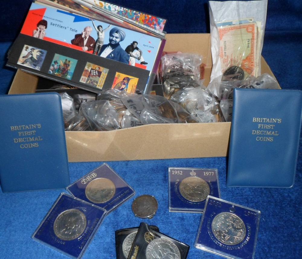 Lot 42 - Coins, a selection of GB and Foreign coins, mostly sorted into bags by Country, inc. GB silver and