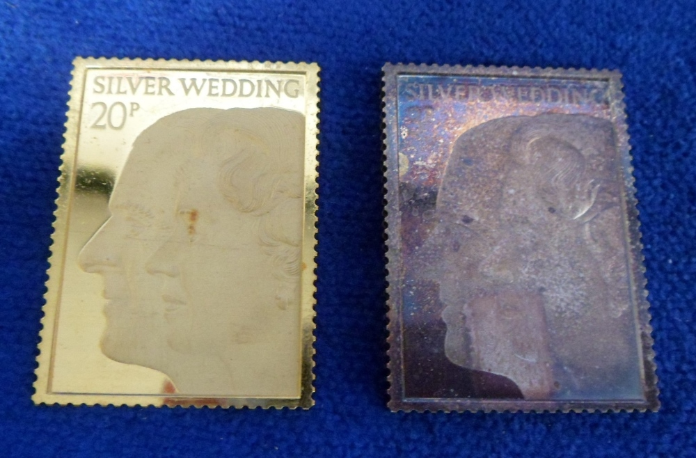 Lot 45 - Commemorative Replica Stamps, Royal Silver Wedding Anniversary 1972, stamp replicas, one in 22ct