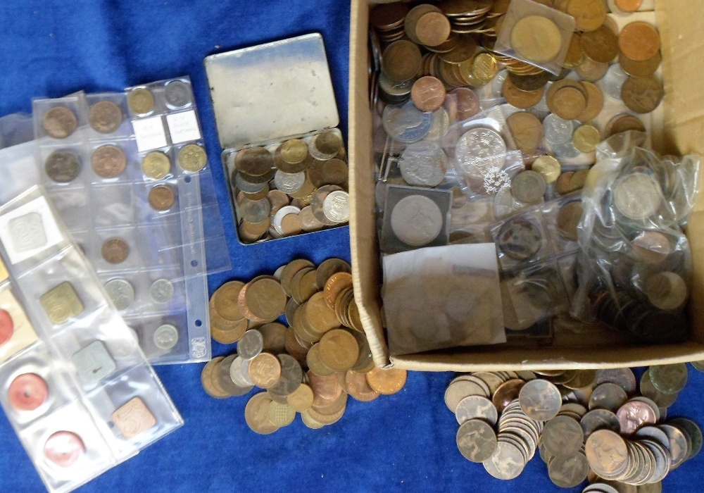 Lot 47 - Coins, a large collection of mainly GB coins, farthings to crowns, various ages, in mixed condition,