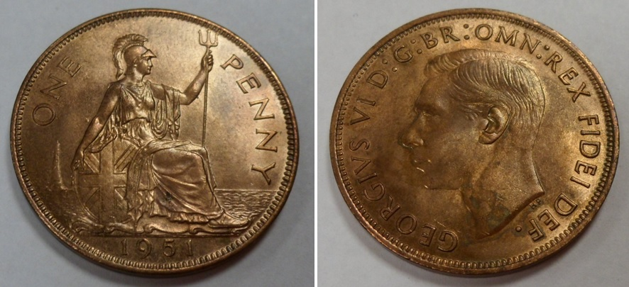 Lot 46 - Coin, GB, George VI 1951 penny, scarce date EF (with lustre)