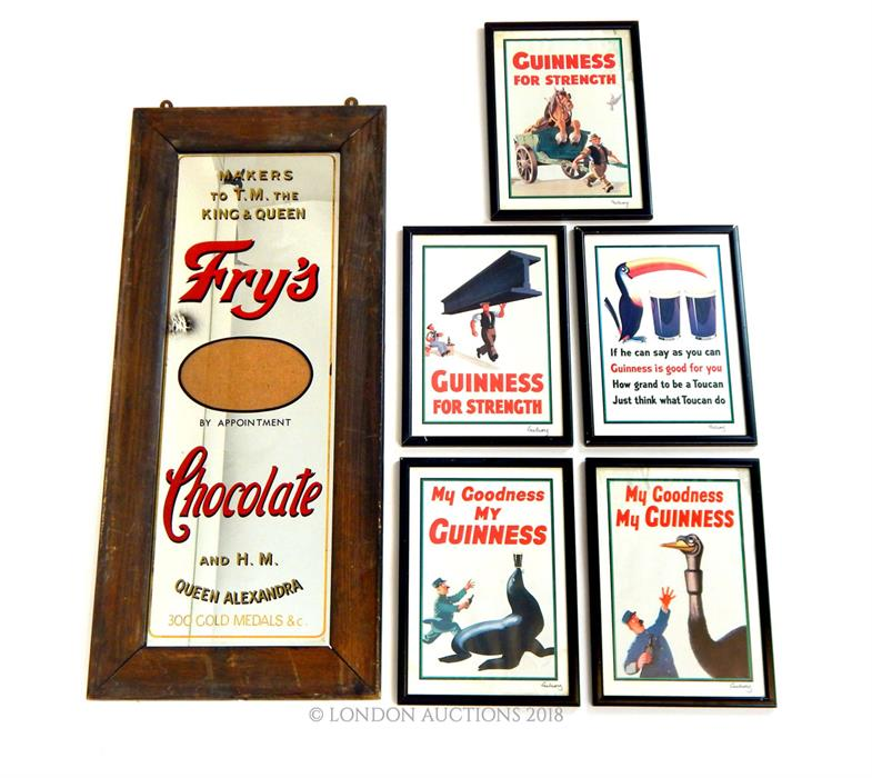Lot 25 - A large, Fry's Chocolate framed mirror and five, framed, Guinness prints