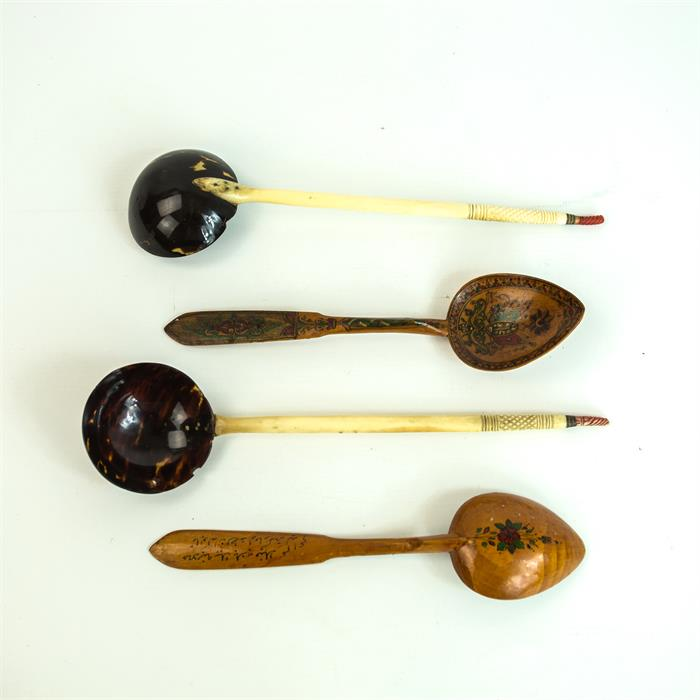 Lot 14 - A Pair of Turkish Tortoiseshell & Horn Spoons and Ottoman Spoons