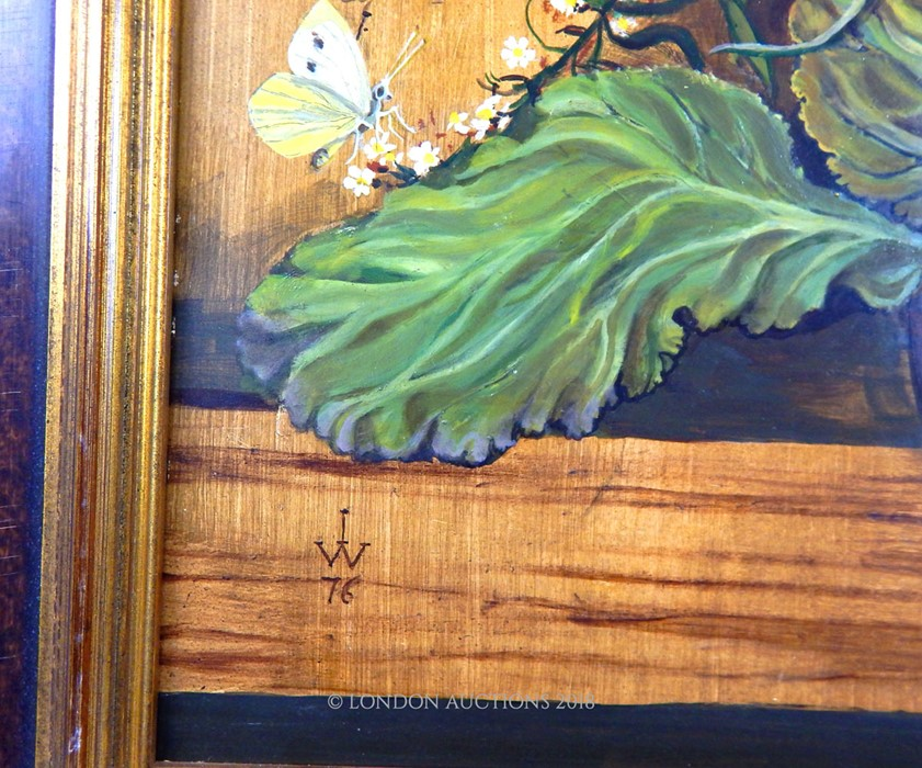 Lot 54 - An oil on board still life of flowers with butterflies