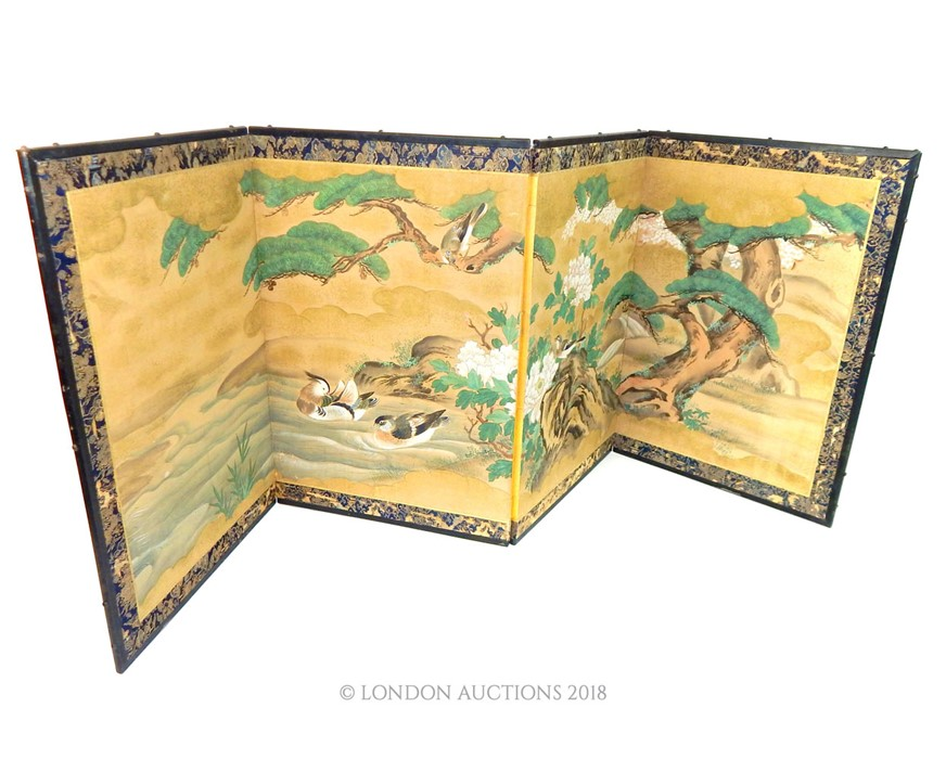 Lot 27 - A Japanese hand painted four fold pillow screen