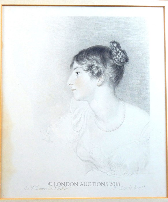 Lot 39 - After Sir Thomas Lawrence, pencil portrait and three prints
