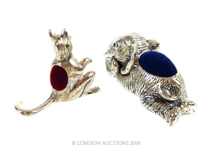 Lot 43 - A silver Kangaroo pincushion plus a silver Elephant pin cushion