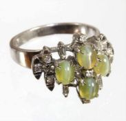 "Ring; ""VINTAGE"" 1970/80er Jahre, WG 750/000, 4 Chrysoberyll-Katzenaugen (Cymophan) ca. 1,8-2,0 ct, 4"