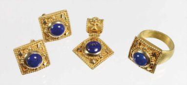Lot: GG 585/000, sig.: AKCAM, Kugel u. Drahtbelötung, Lapiscabochons, 1 Ring, Ringkopf ca. 16,7 x