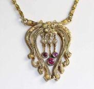 Anhänger-Collier, GG 585/000, sig.: H E, 3 Rubine (weiß gefasst), 20 St. 1/2 Perlen (1 fehlt),