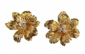 1 Paar Ohrclip, Frankreich 1960/70er Jahre, GG 750/000, 6 Brillanten ca. 0,22 ct tw-vsi/si, ca. 20 x