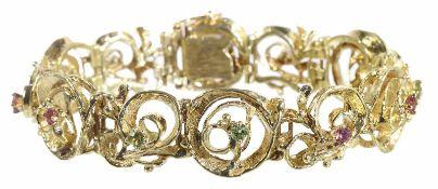 Armband, GG 585/000, je 6 facettierte Turmaline u. Peridotsteine D = 3,0 mm, die Armband Elemente