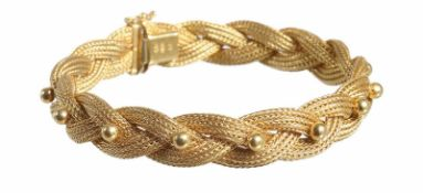 Armband, GG 750/000, geflochtenes Band mit Kugeln, untergebautes Kastenschloß mit Sicherheitsacht, B
