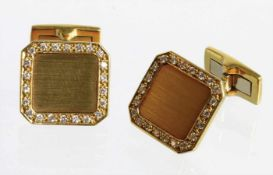 1 Paar Manschettenknöpfe, GG 750/000, 44 Brillanten ca. 0,44 ct tw-vsi v vsi, ca. 15,9 x 16,9 mm