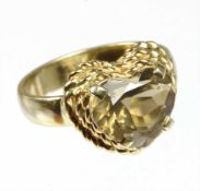 "Ring ""HERZ"", GG 585/000, Rauchquarz ca. 4,30 ct facettiert, RW ca. 58"