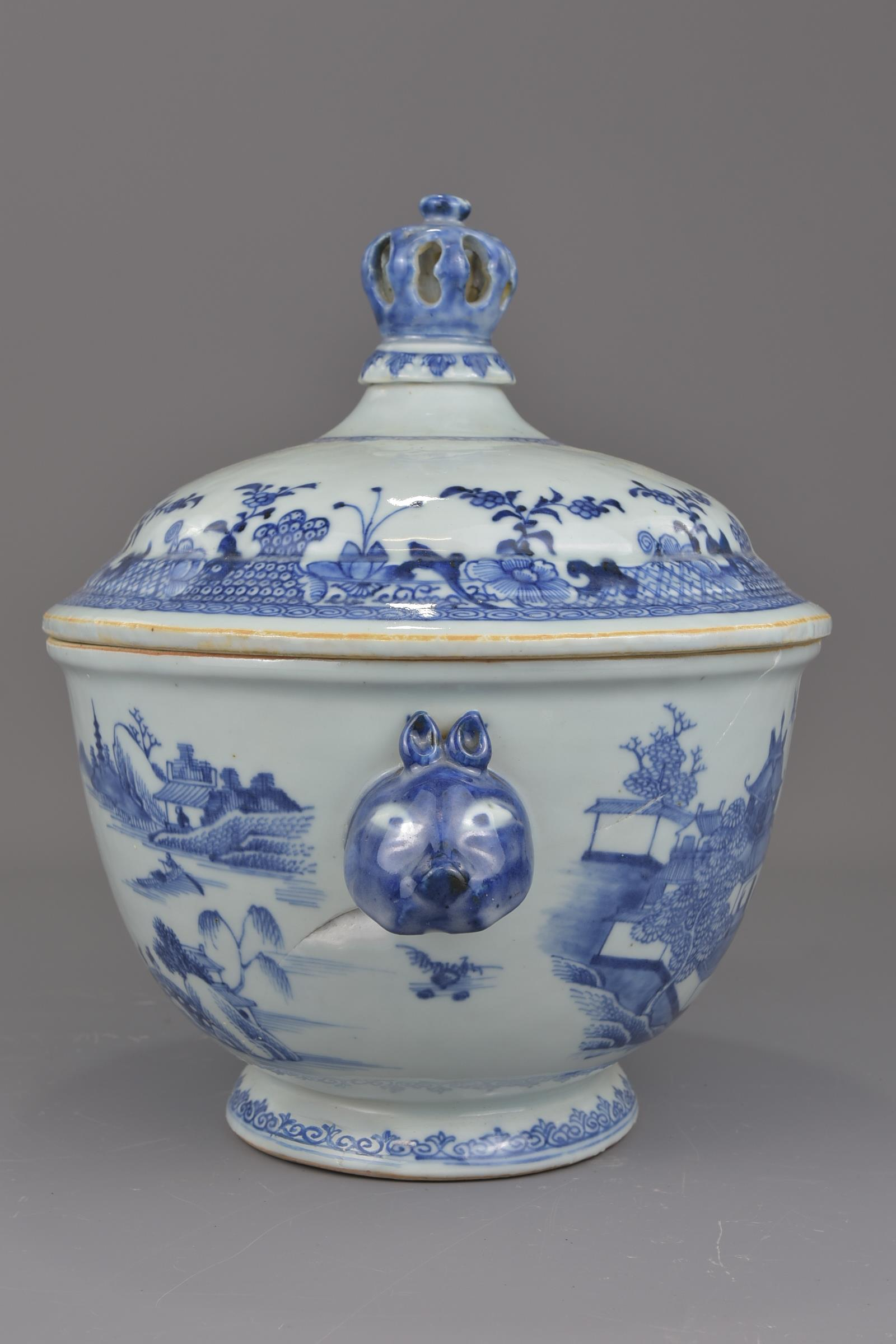 Lot 3 - A Chinese 18th century blue and white porcelain tureen with cover together with a large 18th century