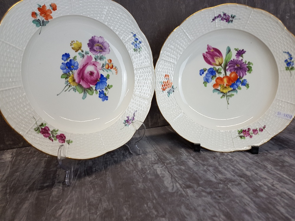Lot 43 - Two 19th Century Meissen hand decorated floral plates.
