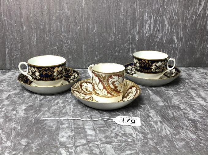 Lot 41 - A pair of late 18th Century/early 19th Century cabinet cups, possibly Worcester, and saucer.