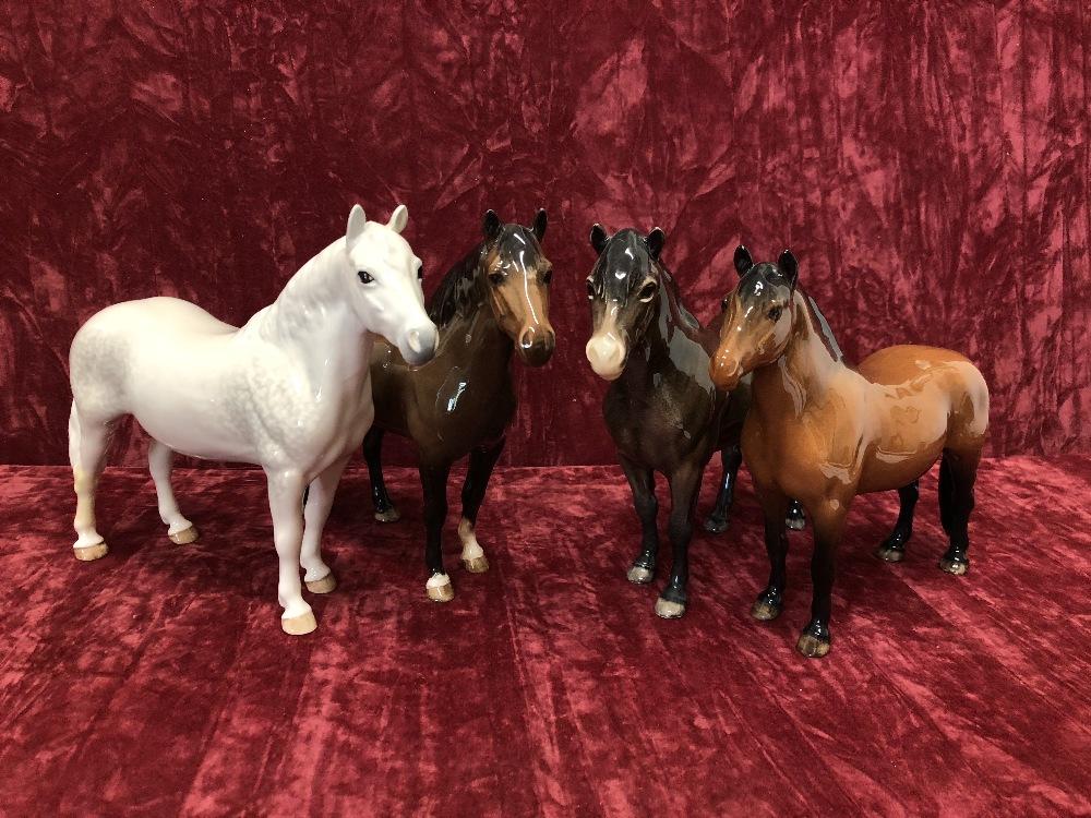 Lot 5 - Four Beswick ponies (New Forest, Exmoor, Dartmoor, Connemara).