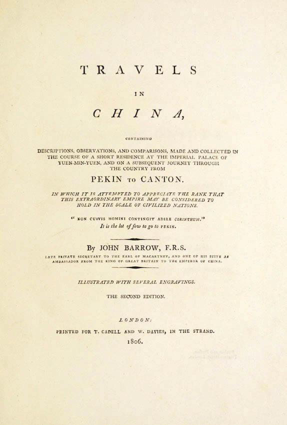 Lot 7 - BARROW, John. Travels in China,