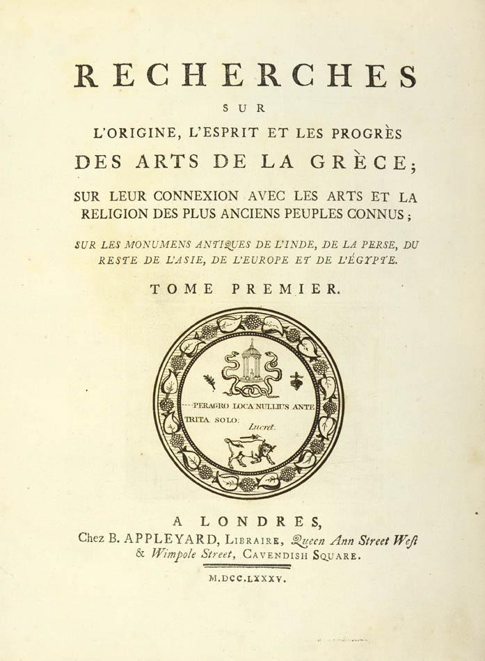 Lot 34 - HANCARVILLE, Pierre d'. Recherches sur l'origine, l'esprit et les progrès des arts de la Grèce;