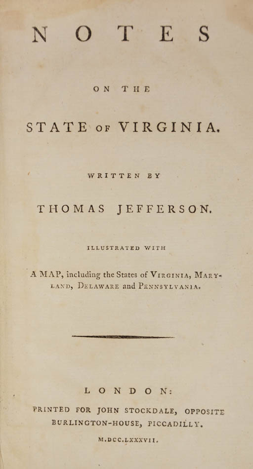 Lot 44 - JEFFERSON, Thomas. Notes on the state of Virginia;