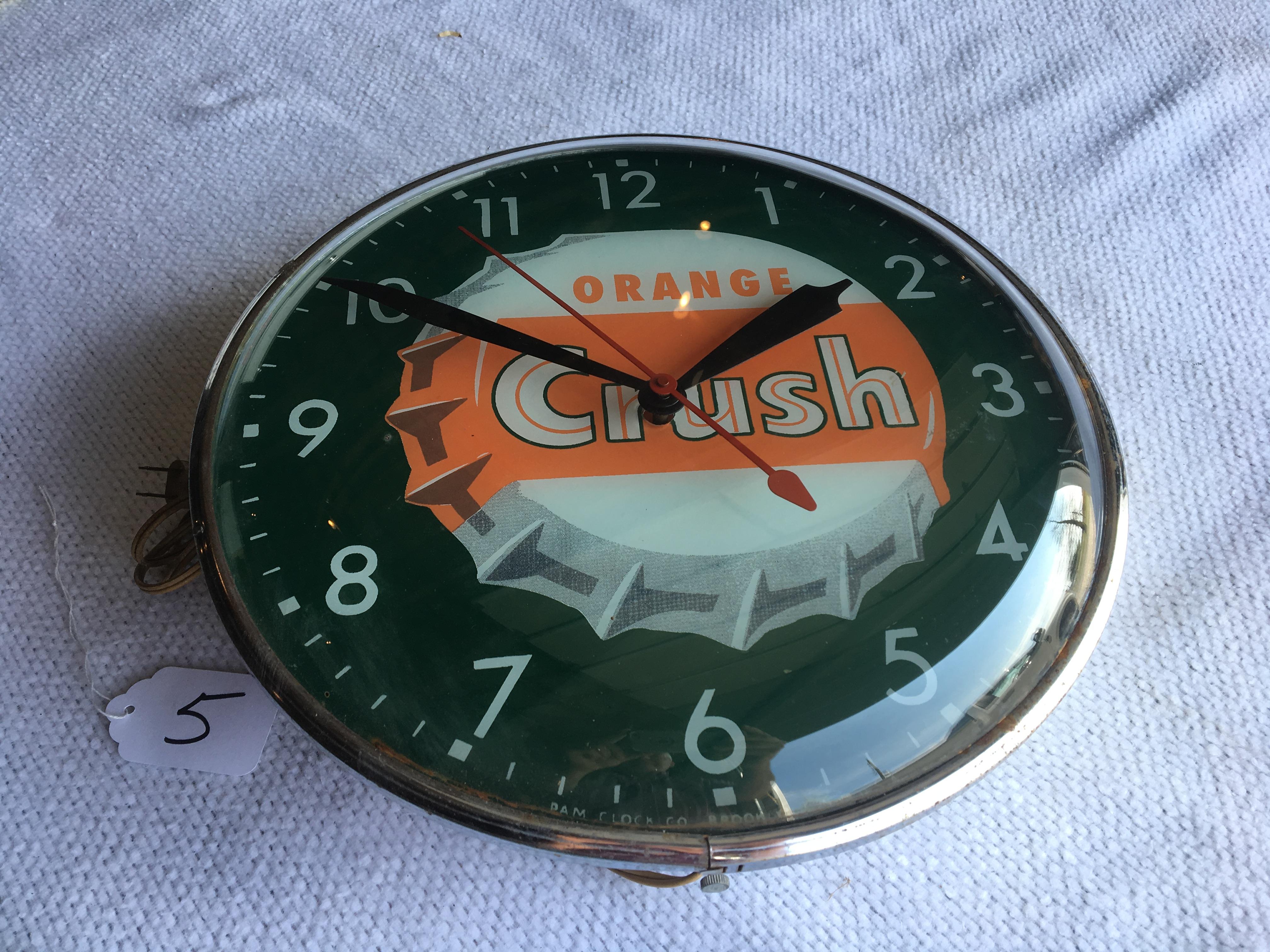 Lot 5 - Orange Crush Bubble Clock – Pam Clock Company, Brooklyn, NY