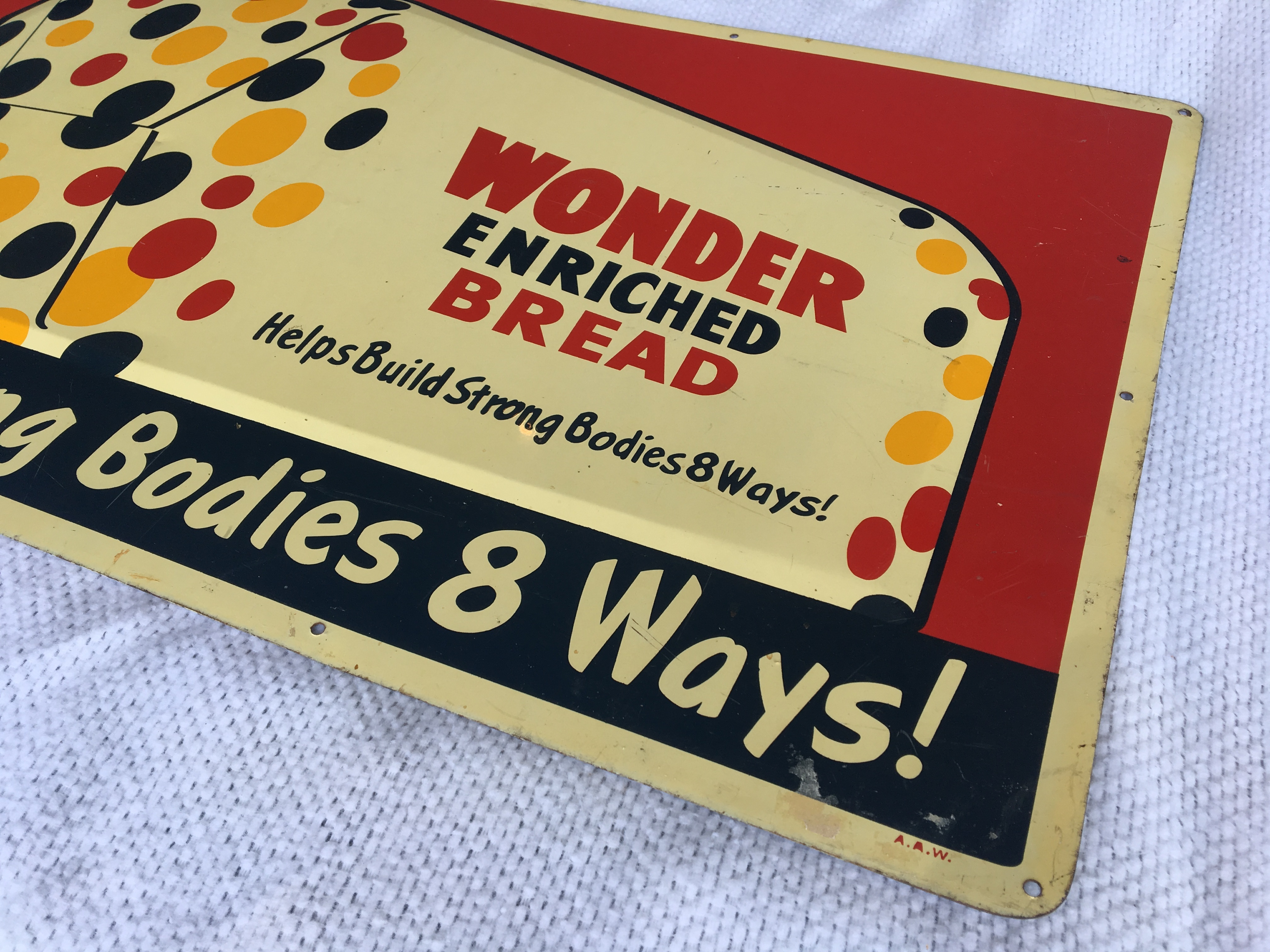 "Lot 15 - Wonder Bread, 18"" x 30"", Metal Sign, USA A.A.W"