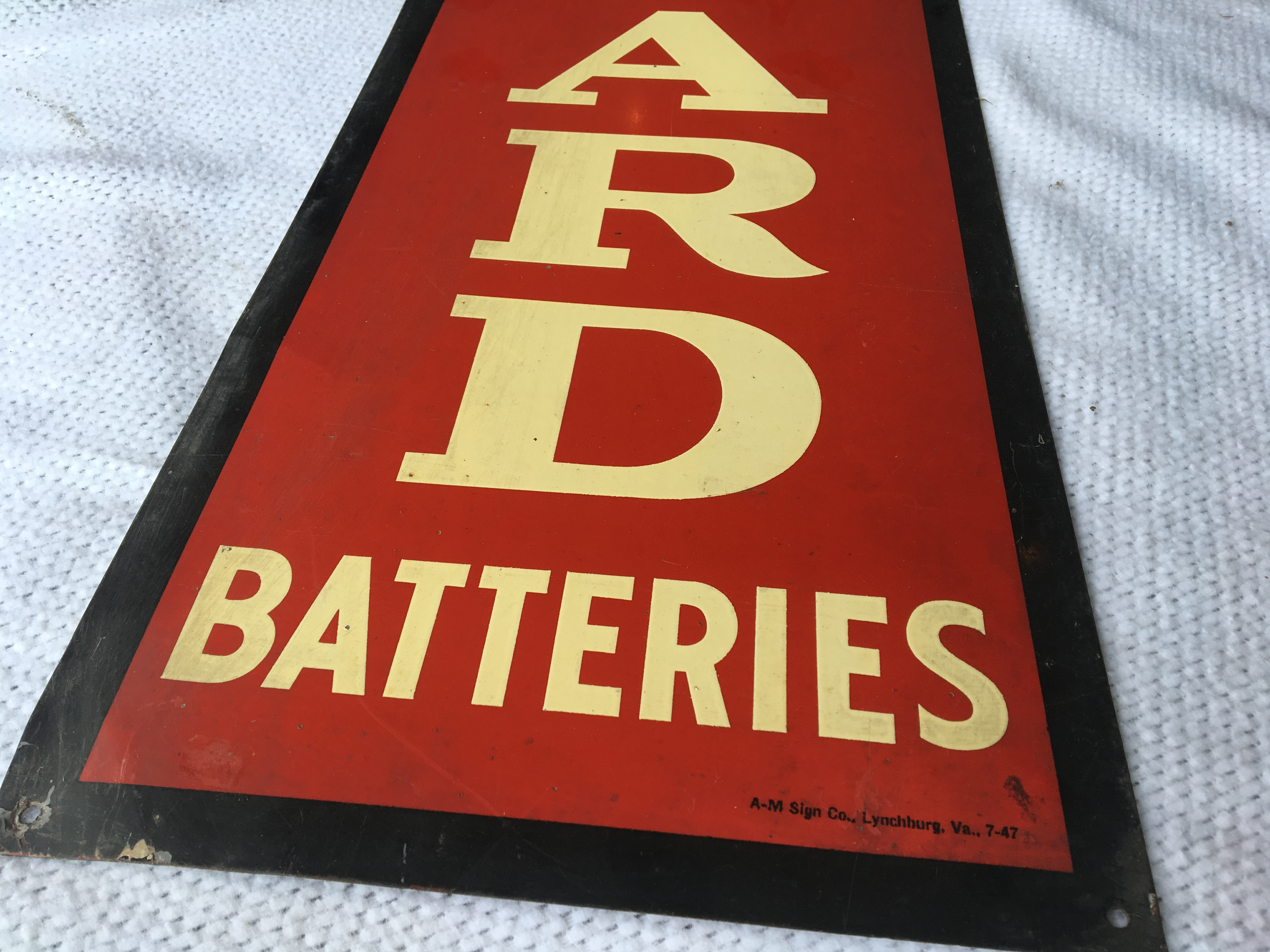 "Lot 14 - Willand Batteries, 11 ½"" x 39 ½"", Metal Sign – A-M Sign Co. Lynchburg, VA. (7-47)"