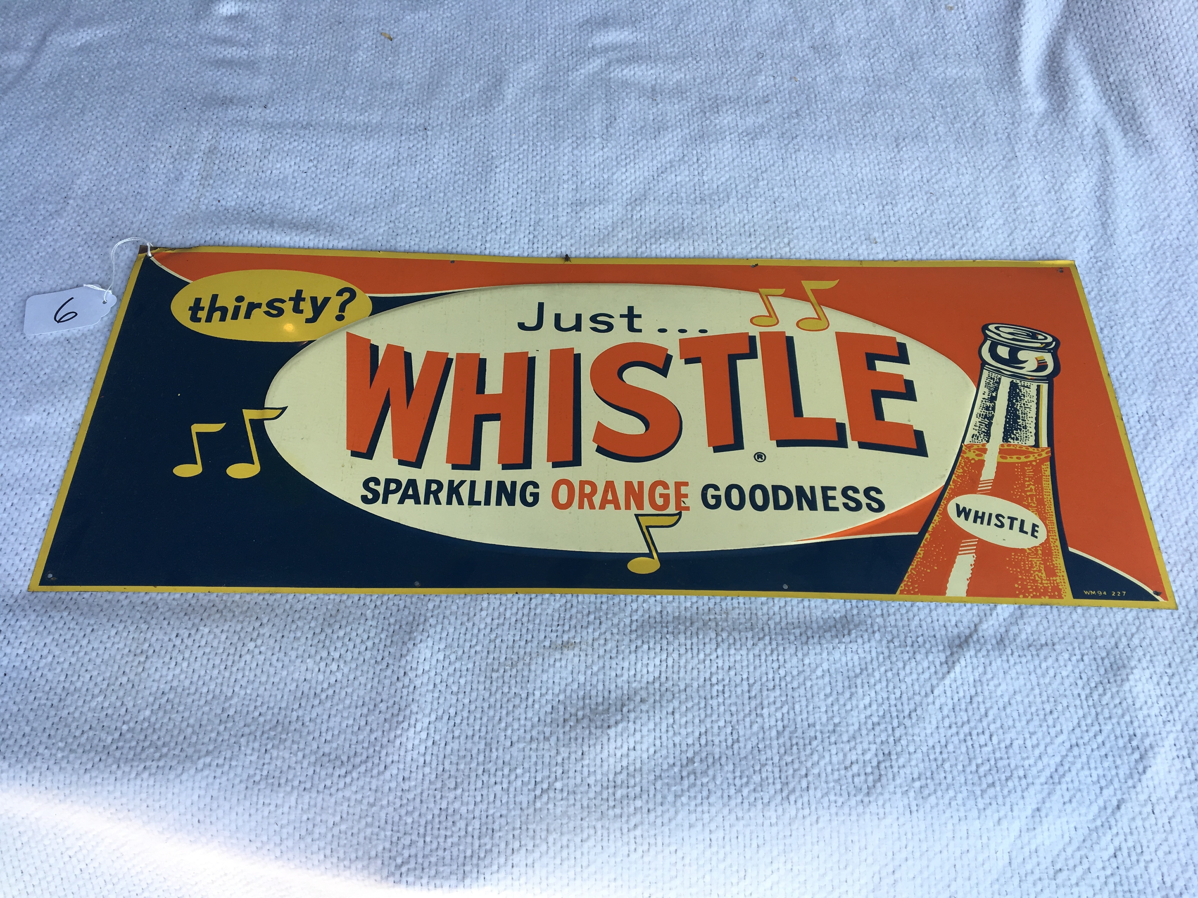 """Lot 6 - Whistle, 12"""" x 30"""", Metal Sign – WM94-227"""