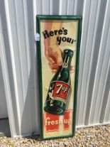 "Lot 16 - 7up, 17"" x 55"", Metal Sign, Stout Sign Company (7-48)"