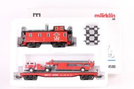 """Märklin 4580, Wagen-Set """"Texas"""" Märklin 4580, Wagen-Set """"Texas"""", Caboose, Flachwagen, Feuerwehr-"""