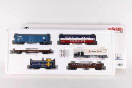 Märklin 4863, USA-Güterwagen-Set II, fünf WagenMärklin 4863, USA-Güterwagen-Set II, fünf Wagen, LKW,