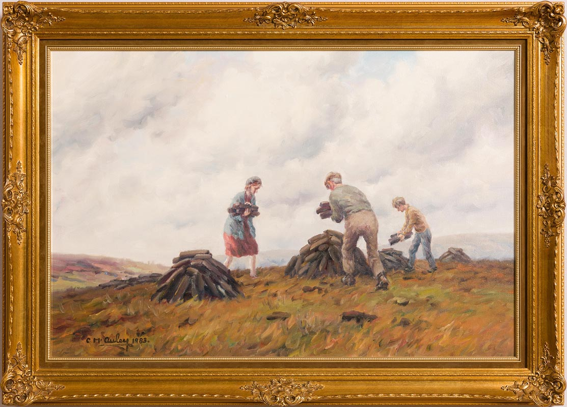 Lot 35 - Charles J. McAuley RUA ARSA (1910-1999) Everyone Helps with the Turf (1983)