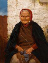 Lot 25 - Sir Thomas Alfred Jones (c.1823-1893) Woman Knitting
