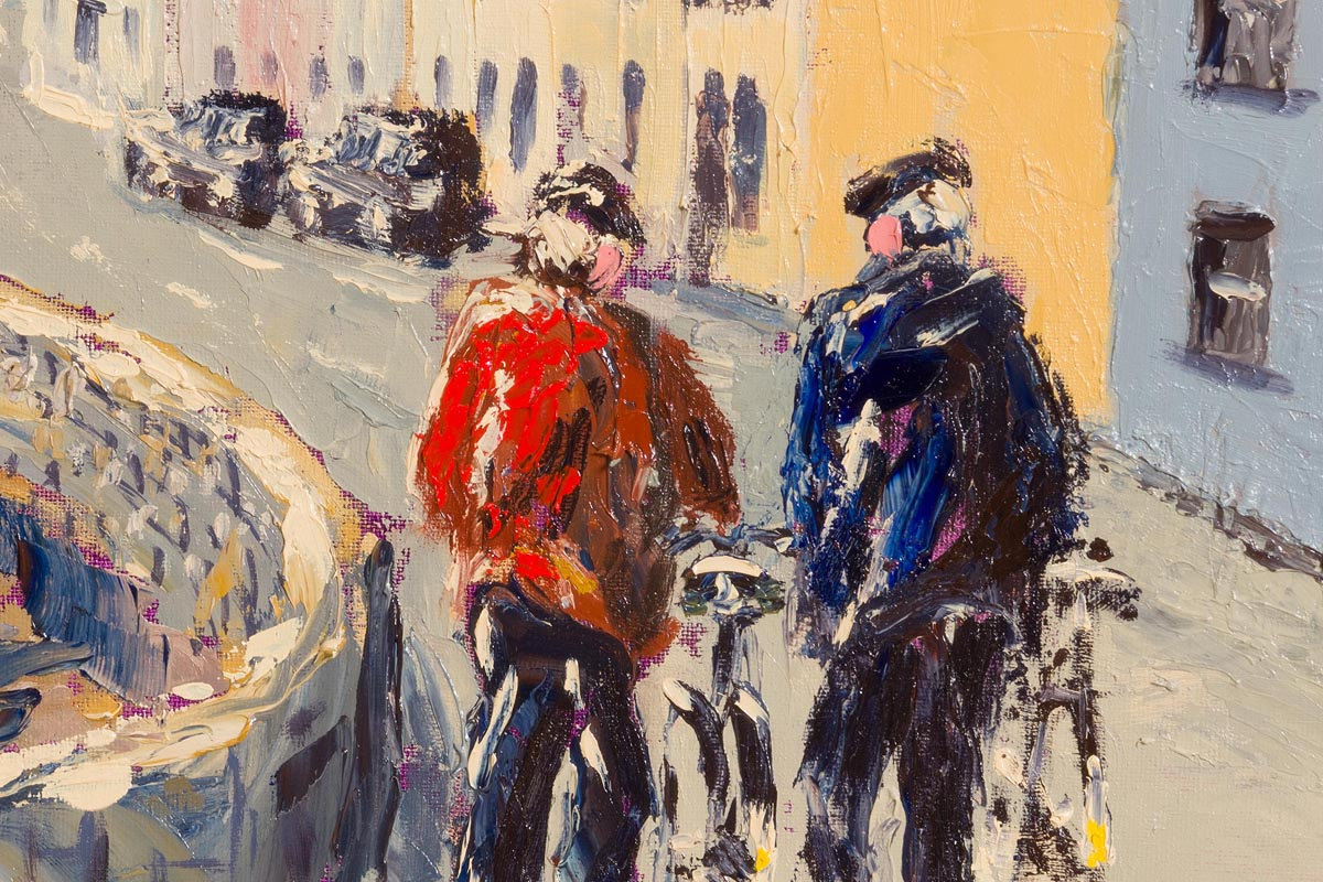 Lot 7 - Ivan Sutton (b.1944) Walking the Bikes, Roundstone Village, Co Galway