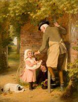 Lot 23 - George Bernard O'Neill (1828-1917) Picking Grapes (1898)