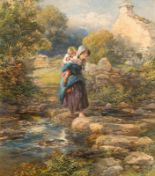 Lot 21 - Francis William Topham RA (1808-1877) The Stepping Stones (1861)