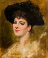 Lot 22 - Henry Jones Thaddeus (1860-1929) RHA Portrait of a Young Lady in a Black Feathered Hat